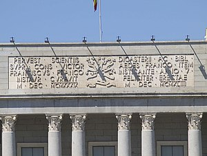 Fascist architecture - The CSIC honouring Franco's victory in the Spanish Civil War, in Madrid, Spain.