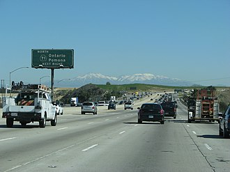California State Route 91 - Eastbound SR 91 just before State Route 71. This image was taken before the toll lane extension which started in 2014 and finished in 2017.
