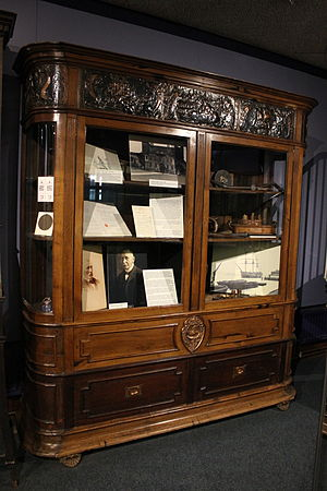 HMS Foudroyant (1798) - Cabinet at Monmouth Museum made of the wreckage of the Foudroyant and containing objects also made from the ship.