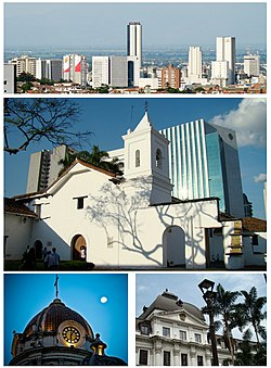 From top left: Municipal Theater, Cristo Rey, Cali Tower, Downtown Cali, San Pedro's cathedral, El Gato del Rio and La Ermita church