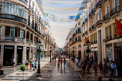Calle Marques de Larios under cover of tents Malaga Andalusia Spain Southeastern Europe