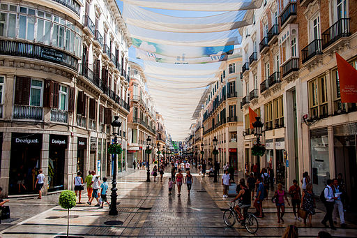 Calle Marqués de Larios under cover of tents. Málaga, Andalusia, Spain, Southeastern Europe