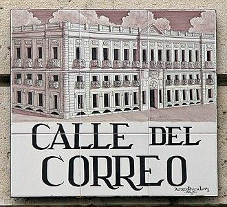 Cafetería Rolando bombing - Calle del Correo street sign