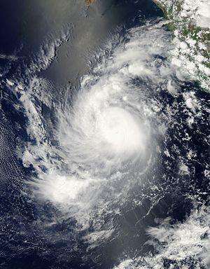 2011 Pacific hurricane season - Image: Calvin 250m Jul 9 2011 20.35(UTC)