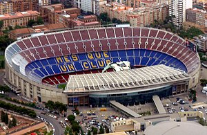 Venues of the 1992 Summer Olympics - Aerial view of Camp Nou. It was known as Estadi del FC Barcelona for the 1992 Summer Olympics, hosting the football final.