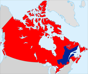 Partition of Quebec - A potential map of Canada and a seceded Quebec partitioned according to local preferences, with Montreal, Northern Quebec, the Eastern Townships, and the Pontiac region remaining with Canada