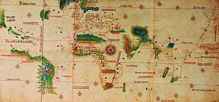 The Cantino planisphere (1502), the oldest surviving Portuguese nautical chart showing the results of the explorations of Vasco da Gama to India, Columbus to Central America, Gaspar Corte-Real to Newfoundland and Pedro Alvares Cabral to Brazil. The meridian of Tordesillas, separating the Portuguese and Spanish halves of the world is also depicted Cantino Planisphere.jpg