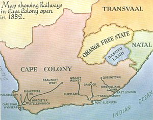 Cape Government Railways - 1882 map showing the three principal rail networks of the Cape Colony