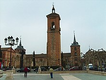Santa María la Mayor, in Alcalá de Henares, where Cervantes was reputedly baptised; the square in front is named Plaza Cervantes (Source: Wikimedia)