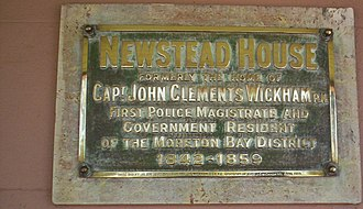 John Clements Wickham - A commemorative plaque at Newstead House