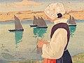 Carl Moser Strickende Frau mit Booten b.jpg