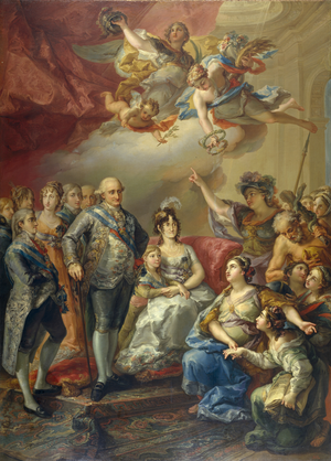 Princess Maria Antonia of Naples and Sicily - Maria Antonia (fourth from left), together with the rest of the Spanish royal family, visits the University of Valencia in 1802, shortly after her wedding. Oil painting by Vicente López.