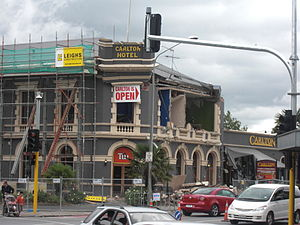 Carlton Hotel, Christchurch - Carlton Hotel in scaffolding for repairs of 2010 Canterbury earthquake damage, but with significant new damage visible from the February 2011 Christchurch earthquake