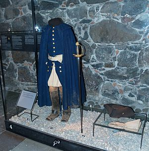 Fredriksten - Charles XII uniform from his last campaign in Norway, now in Livrustkammaren, Sweden