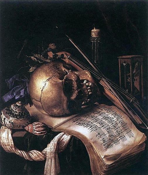 File:Carstian Luyckx - Vanitas, still life with skull, music book, violin and shells.jpg