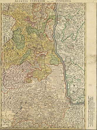 Upper Alsace - 16th-century map of Lower Alsace and the Sundgau by Daniel Specklin.