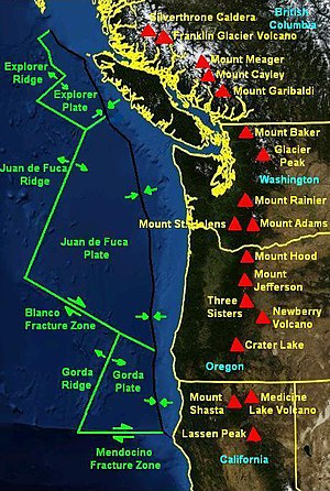 Cascadia subduction zone - Juan de Fuca Triple Junctions and the Cascade Volcanic Arc