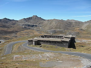 Col de la Bonette - The road from Jausiers passes next to the Casernes de Restefond, an old military building