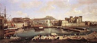 Castel Sant'Elmo - Veduta, castle in horizon, center, 1700-1710, by Vanvitelli.