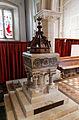 Castle Hedingham, St Nicholas' Church, Essex England, baptismal font.jpg