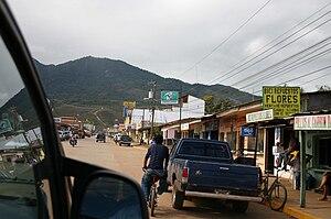 Catacamas - A street scene in central Catacamas -the 'Mirador de la Cruz' is visible in the background