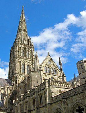 English Gothic architecture - The entirety of Salisbury Cathedral (excluding the tower and spire) is in the Early English style. Lancet windows are used throughout, there is less embellishment than is found in Romanesque buildings, and less detailed tracery than would be used in later buildings.