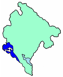 Map of Montenegro  Kotor Bishopric - Blue  Bar Archbishopric - Green
