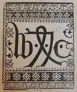 William Caxton - Printer's mark of William Caxton, 1478. A variant of the merchant's mark
