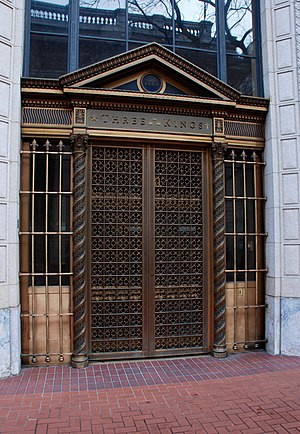 Bank of California Building (Portland, Oregon) - The central, original entrance features ornate bronzework on and around the gates covering the doors.