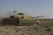 Challenger II, main battle tank prepares to fire its main gun on a target