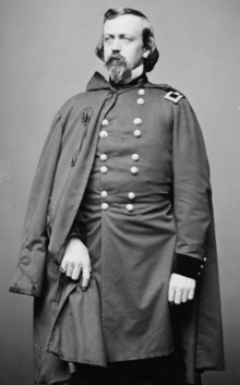 black and white full body image of General Stone in this Union Army uniform with cape
