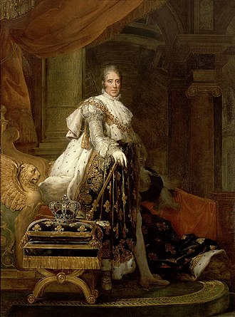 Regent Diamond - Portrait of Charles X by François Gérard. Note the Regent Diamond set in the Fleur-de-lis at the top of the crown.