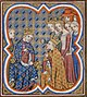 Charles the Bad, king of Navarre, pardoned by John the Good as the queens Blanche of Navarre and Jeanne of Evreux.jpg
