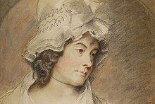 A soft pastel portrait of a woman in a large lacy bonnet looking wistfully right of viewer