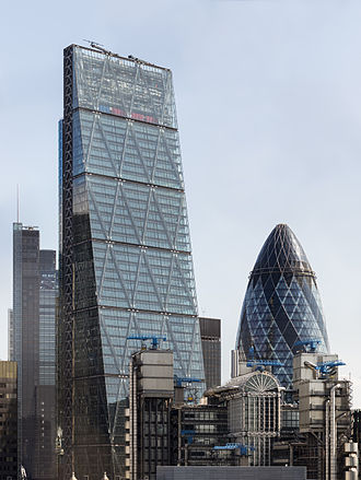 122 Leadenhall Street - The Leadenhall Building (with the Heron Tower and 30 St Mary Axe in the background and the Lloyd's building in front), viewed from the Monument in 2014