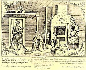 Divination - Russian peasant girls using chickens for divination; 19th century lubok.