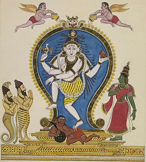 Nataraja with Vyaghrapada and Patanjali (left)...