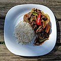 Chilli beef and rice at Highgate Cricket Club, Haringey, top focus position 1.jpg