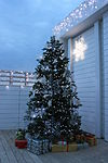 Christmas tree and presents outside Astir Beach, Vouliagmeni, Athens, Greece, Christmas 2009