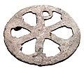 Christogramvormig beslag in brons, 375 tot 450 NC, vindplaats- Neerharen-Rekem, 1982, Germaanse nederzetting, afvalkuil 7, collectie Gallo-Romeins Museum Tongeren, 81.NE.023.jpg