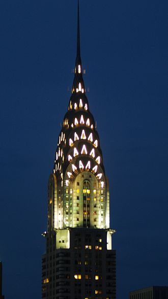 Roaring Twenties - Climax of the new architectural style: the Chrysler Building in New York City was built after the European wave of Art Deco reached the United States.