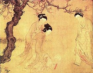 Women's sports - Chinese ladies playing cuju, by the Ming Dynasty painter Du Jin