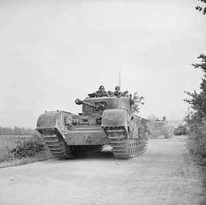 25th Army Tank Brigade - Churchill tanks of the 25th Tank Brigade going forward to support the 1st Canadian Division, Italy, 17 May 1944. This was the first deployment of Churchills in the Italian Campaign.