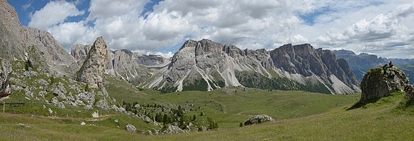 The Cisles pasture and the Stevia group near Pieralongia in the Puez-Geisler Nature Park, Dolomites UNESCO World Heritage Site