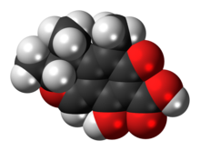 Space-filling model of the citrinin molecule