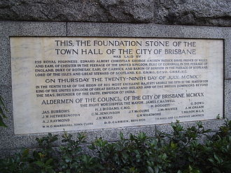 Brisbane City Hall - Brisbane City Hall's 1920 foundation stone