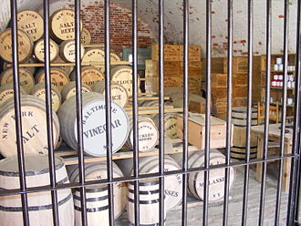 Curing (food preservation) - Barrels of salt beef in a reconstruction of an American Civil War stockpile, at Fort Macon State Park, North Carolina