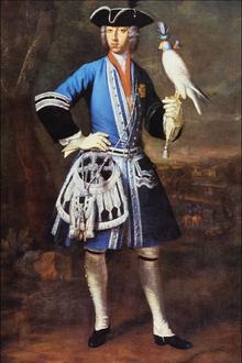 Clemens August als Falkner (Gemälde von Peter Jakob Horemans) (Quelle: Wikimedia)