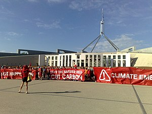 Climate change in Australia - Protesters from the Climate Action Summit outside of Parliament House, Canberra