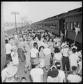Closing of the Jerome Relocation Center, Denson, Arkansas. On the first few train departures in mov . . . - NARA - 539663.tif